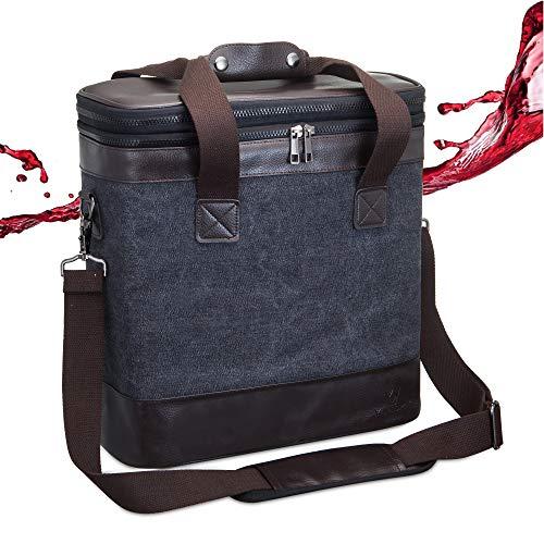 YAPASPT Weinhandtasche 6 Flaschen Bier Weinträger Tasche mit Griffen und Schultergurte Isolierte Kühltasche Picknick Strände