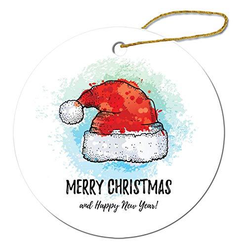 Promini Merry Christmas Grußkarte Nikolaus Hut Weihnachten Ornament, Keramik rund Ornament, Weihnachtsbaum Deko Hängeornament Andenken