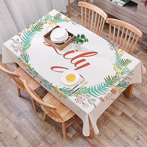 Tablecloth Rectangle Table Cloth Cotton Linen Wrinkle Free,Lily,Colorful Wreath Design with Foliage Leaf Celebratory Girl Name Cla,Tablecloths Washable Table Cover for Kitchen Dinning Party 140x200 cm