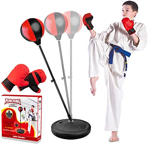 Yovinn Punching Bag for Kids with Boxing Gloves, 3-8 Years Old Kids Punching Bag with Standing Base with Adjustable Stand and Hand Pump, Kids Boxing Set Toy Gift for Boys & Girls (Black & Red)