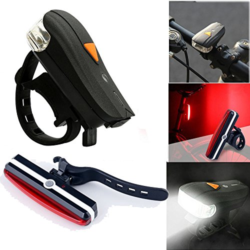 TeaBoy 300 Lumens USB Rechargeable LED Bike Light Set Front and Back Cycling Safety Waterproof Lights Best Headlight with USB Tail Light for Adults Kids Men Women Road Cycling Flashlight