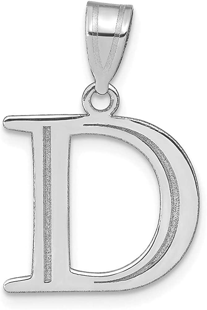 Solid 14k White Gold Etched Letter D Initial Pendant Charm