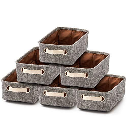 EZOWare 6er Set Klein Faltbare Aufbewahrungsbox aus Leinen Aufbewahrungskorb mit Griffen für Babyzimmer, Kinderzimmer, Heim und Büro – Grau/Creme, 30,5 x 17,8 x 10,2 cm