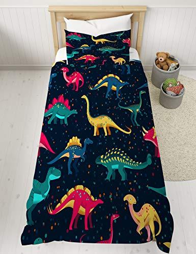 MUSOLEI Kinder Bettbezug-Sets und Kissenbezug-Set Dinosaurier Brüllen Skelett Bettwäsche Bett Wave Point Dunkelblaue Bettwäsche-Sets Superweiches warmes gemütliches Geschenk (135 * 200 cm, 07)
