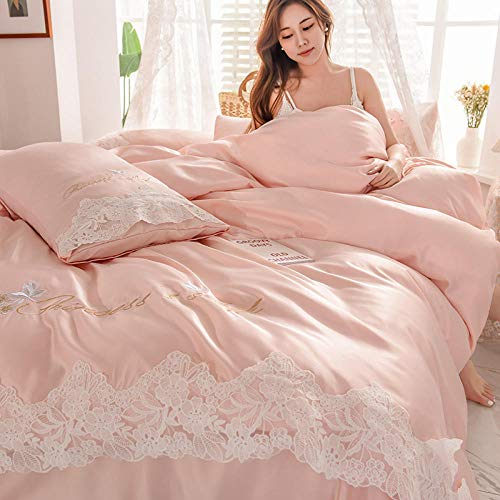 Bedding Set,Washed silk four-piece summer bedding princess style summer cool ice silk sheets quilt cover silky naked sleep-pale pinkish gray_2.0m (6.6 feet) bed