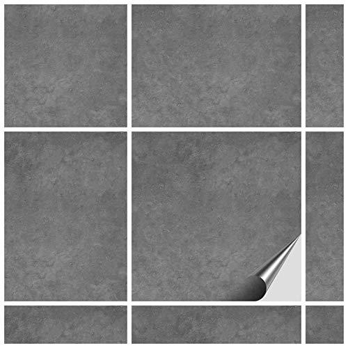FoLIESEN Fliesenaufkleber 15x15 cm - Fliesen-Folie Bad - Klebefolie Küche - 50 Klebefliesen, Dekor Beton