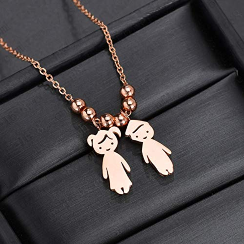 Pendant Necklace (1 set)Stainless Steel Son Daughter Pendant Necklace Children Loving Family Jewelry,The gift for yourself, family and friends.C pendant + necklace