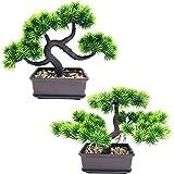 Fycooler Pini bonsai artificiali Alberi falsi delle piante in vaso Bonsai di cedro giapponese, verde artificiale Decorazioni per la casa da interno desktop, ufficio, soggiorno, cortile Zen Garden-2Pcs