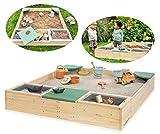 MUDDY BUDDY® Sandkasten aus Holz Beach Rebel (Natur-Salbeigrün)