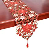 Simhomsen Christmas Holiday Poinsettia Table Runners, Dresser Scarves 13  54 Inch-