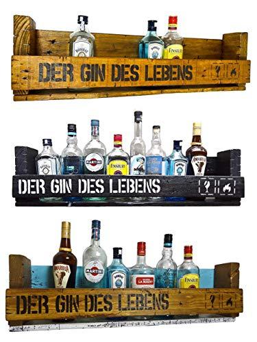' Der Gin des Lebens' SHaBBY ViNTaGe PaLeTTeNReGaL (HxLxT: 23x8ox9,5cm) im Frachtkisten Style aus Echtholz Gin Rum Whisky Wein Regal Wandbar. personalisierbar