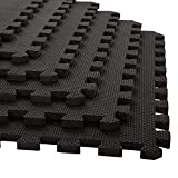 EASY HOME Kid's Black Interlocking Rubber Play Mat High Density Puzzle Floor Tiles, Gym Mats 60x60 cm Each Side (Pack of 12)