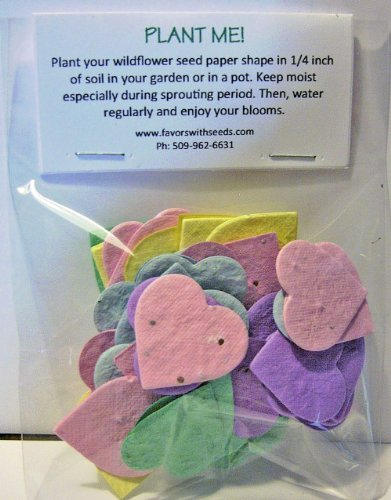 54 Plantable Pastel Color Heart Seed Shapes in a Bag