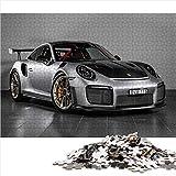 Visionpz Puzzle para Adultos Rompecabezas de 1000 Piezas Plata Porsche 911 gt2 RS Conjunto de Rompecabezas Familiar Superdeportivo Rompecabezas Juegos educativos para Adultos y niños 38x26cm