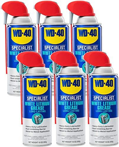 WD-40 Specialist White Lithium Grease Spray with SMART STRAW SPRAYS 2 WAYS, 10 OZ [6-Pack]