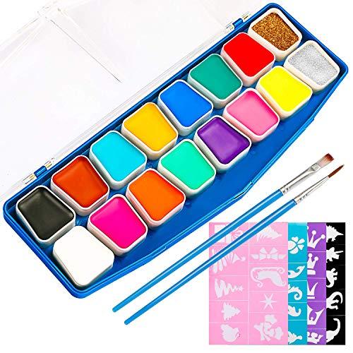 JamBer Pintura de Cara,40 Plantillas de Maquillaje infalibles,14 Colores,2 purpurinas,2 Pinceles Profesionales,Pintura Facial Segura y no tóxica,Pintura Corporal,Kits de Pintura Facial para niños
