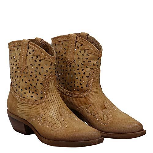 Felmini - Damen Schuhe - Verlieben EL PASO C320 - Cowboy & Biker Stiefeletten - Echtes Leder - Braun - 39 EU Size