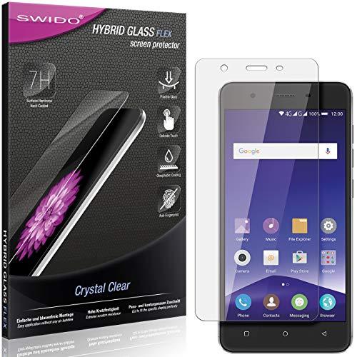 SWIDO Panzerglas Schutzfolie kompatibel mit Mobistel Cynus F10 Bildschirmschutz-Folie & Glas = biegsames HYBRIDGLAS, splitterfrei, Anti-Fingerprint KLAR - HD-Clear