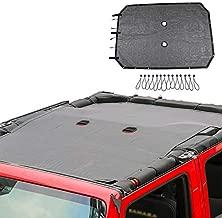 JeCar Mesh Sunshade Bikini Top Sun Shade UV Protection for 2007-2018 Jeep Wrangler JKU 4 Door (Plain Black)