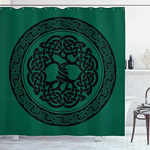 Ambesonne Celtic Shower Curtain, Monochrome Tree of Life Illustration with Timeless European Motif, Cloth Fabric Bathroom Decor Set with Hooks, 70' Long, Forest Green