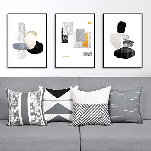 Alishomtll Juego de 4 fundas de cojín decorativas de 45 x 45 cm, diseño geométrico para sofá, poliéster, gris y blanco