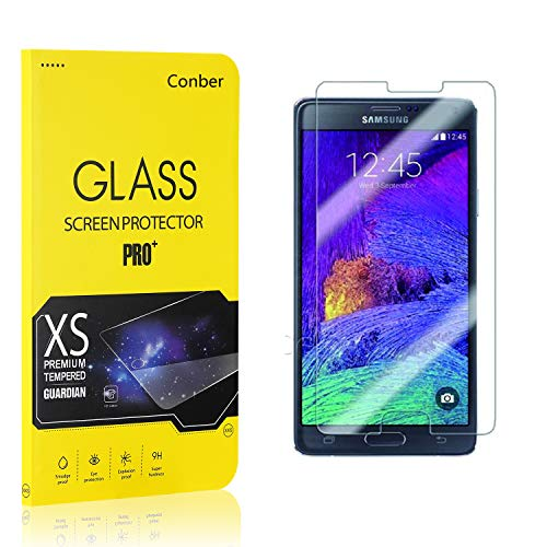 Conber (1 Pack) Screen Protector for Samsung Galaxy Note 4, [Scratch-Resistant][Anti-Shatter][Case Friendly] Premium Tempered Glass Screen Protector for Samsung Galaxy Note 4