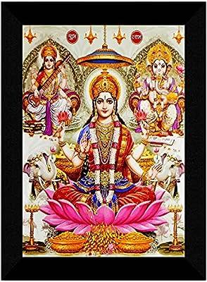 SAF Laxmi Ganesha Saraswati multi-effect UV Textured Home Decorative gift item Framed Painting 10 Inch X 13 Inch SANFK30776