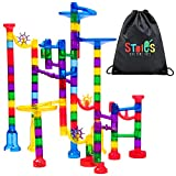 Stoie's 109-Piece Marble Run Set - Includes Race Tracks, Glass Marbles...