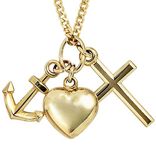 Kettenanhänger gold Anker Herz Kreuz Anhänger Glaube Liebe Hoffnung Gold Gelbgold