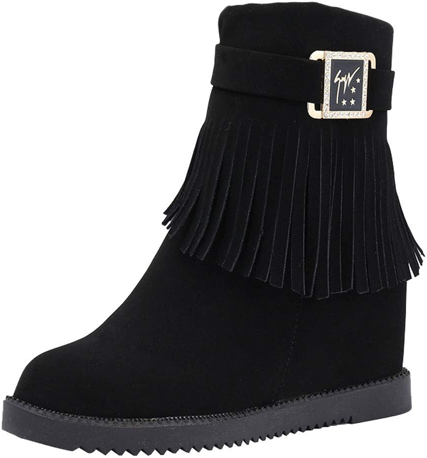 JaHGDU Women Tassels Martin Boot Buckle Increases Within Plush Middle Boots Fashion Leisure Elegant Cosy Wild Tight Super Casual Quality for Women