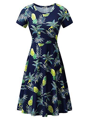 HUHOT Women Navy Blue Dress Hawaiian Print Fun Summer Sun Dress Beach Pineapples Medium