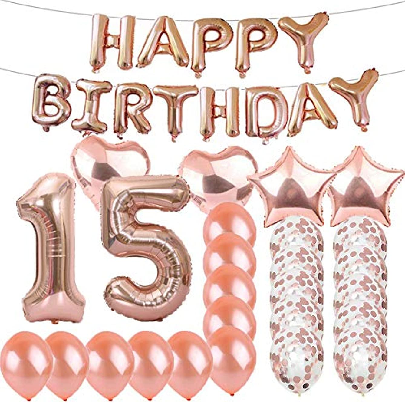 Sweet 15th Birthday Decorations Party Supplies,Rose Gold Number 15 Balloons,15th Foil Mylar Balloons Latex Balloon Decoration,Great 15th Birthday Gifts for Girls,Women,Men,Photo Props