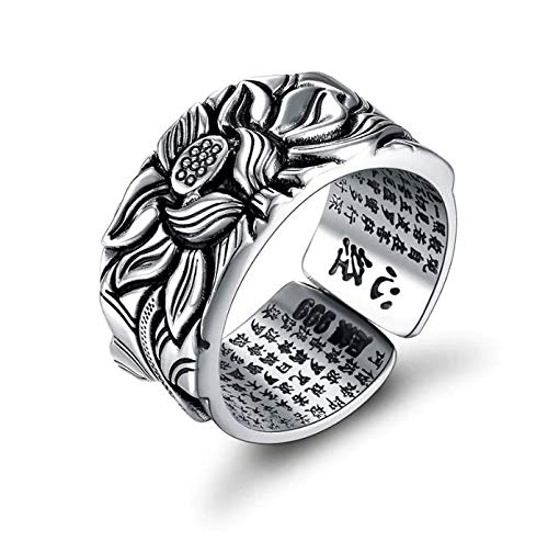 8Ninegift 925 Silver Lotus Rings Good Luck Buddha Adjustable Size Trendy Popular S925 Solid Thai Silver Ring for Women Men Jewelry