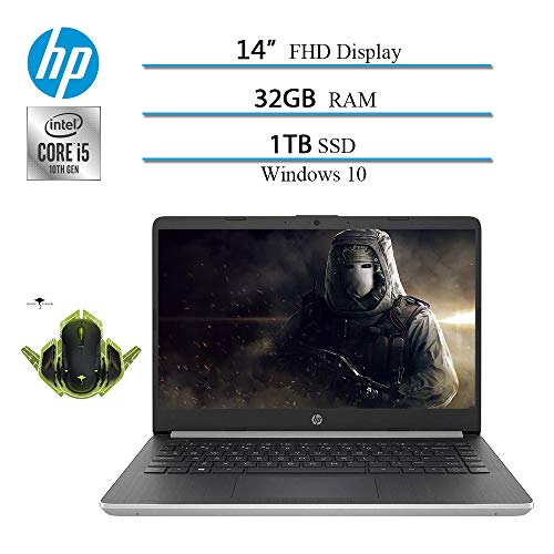 """Newest 2020 HP 14"""" Premium FHD IPS Laptop Notebook Computer, 10th Gen i5-1035G4 (up to 3.7GHz), 32GB RAM, 1TB SSD, HDMI, WiFi, Bluetooth, Windows 10 W/ Ghost Manta Gaming Mouse"""