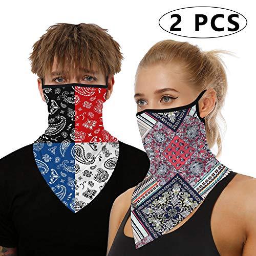 Bandana Gesichtsmaske für Damen/Herren, Unisex, multifunktional, Outdoor-Maske, Schal, Sturmhaube mit Ohrschlaufen, elastisch, atmungsaktiv, waschbar, für Outdoor, Motorrad