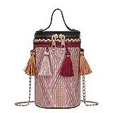 Bolsos de hombro étnicos borla de cuero que tejen las mujeres Crossbody Bucket Bolsos
