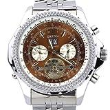 ORKINA kc082-s-silver/Brown–Herren Armbanduhr, Armband aus Edelstahl Farbe Silber