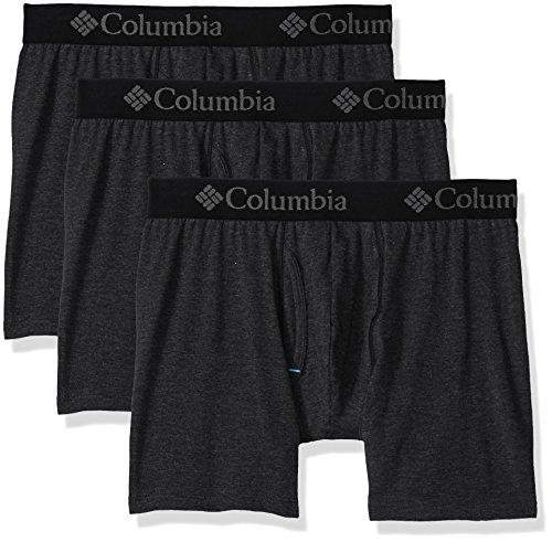 Columbia Men's Performance CTTN Stretch 3 PK Solid Boxer Brief, Black, M