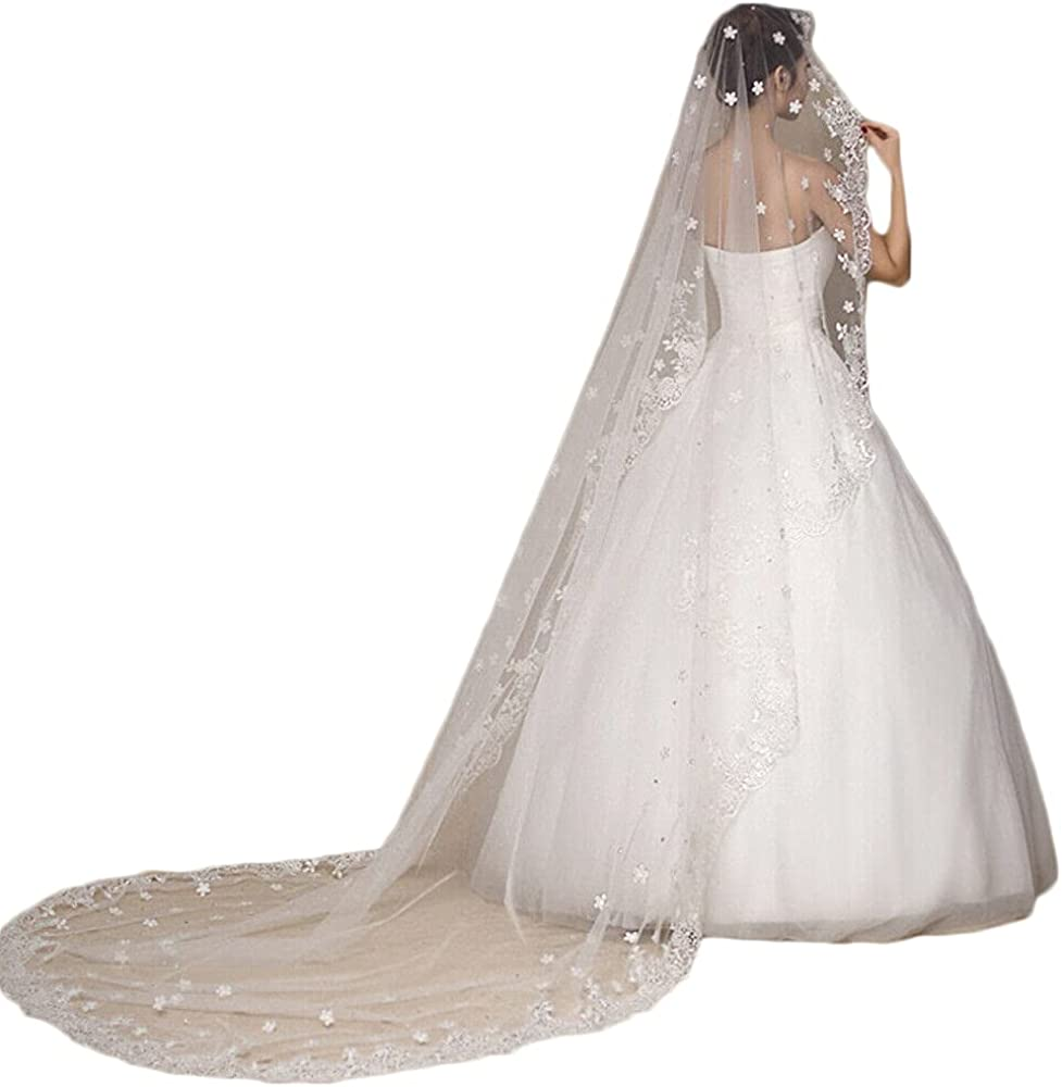 Bridal Veil Cathedral 1T Flower Lace Veil with Comb Women's Veil