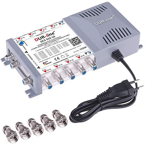 DUR-line DCS 552-16 - Interruttore multifunzione Unicable per 32 partecipanti, Made in Germany, per Quattro o 2 x Wideband LNB – 2 x 16 SCR/DCSS User Bands – a cascata [Digital, HDTV, FullHD, 4K, UHD]