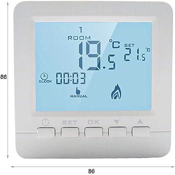 Fdit Termostato Digitale programmabile per termostato per Sistema di Riscaldamento a Caldaia a Parete Black