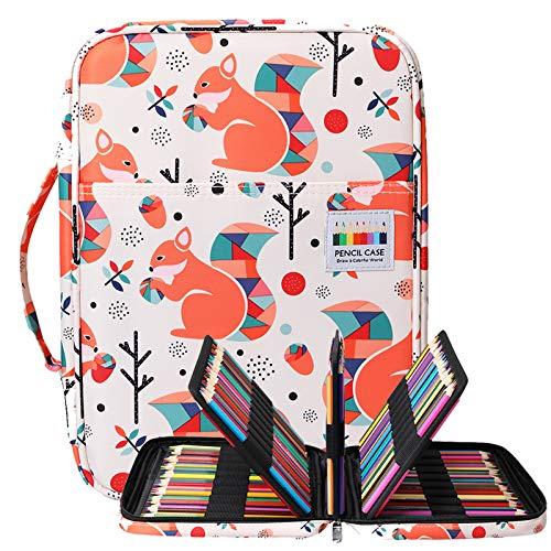 BOMKEE Trousse à crayons colorée 220 Slots Portable Dessiner Peindre Pochette Sac de rangement étanche multicouche pour stylos aquarelle pour enfants et adultes (écureuil)