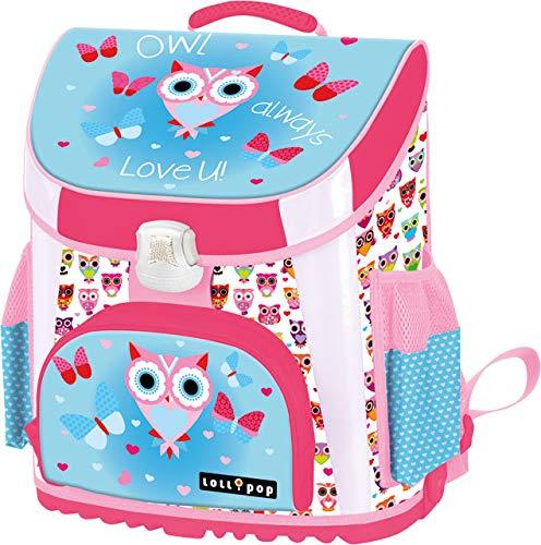 Eule Owl Always Love You // Lollipop // Schulranzen Mädchen 1 Klasse Tornister Schulrucksack Schultasche Set 2-teilig für Grundschule super leicht ergonomisch und anatomisch // Made in EU