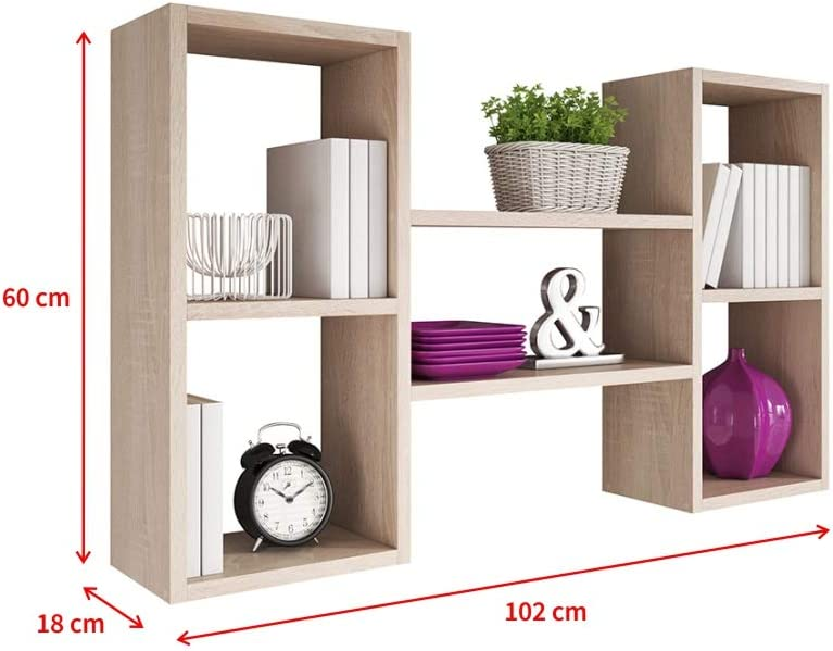 Selsey Kassi Estantería con 5 Compartimentos en Roble Sonoma Mate 60 x 102 cm