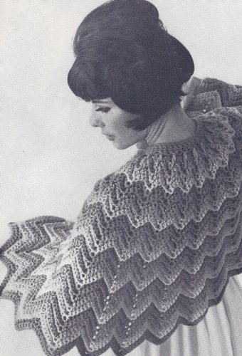 Vintage Crochet PATTERN to make - Ripple Shoulder Cape Wrap Shawl. NOT a finished item. This is a pattern and/or instructions to make the item only.