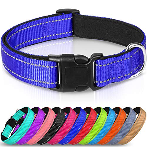Joytale Hundehalsband, Reflektierend Halsband aus Nylon mit Weichem Neopren Polsterung, Navy blau