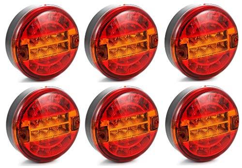 6 pezzi 24 V SMD LED luci posteriori stile hamburger luci posteriori camion rimorchio rimorchio rimorchio caravan ribaltabile E-marked