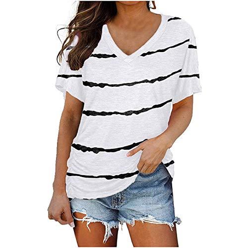 Camiseta de manga corta a rayas para mujer, de verano, con flores, cuello redondo, informal, para mujeres, niñas, adolescentes, fitness, deporte Blanco L