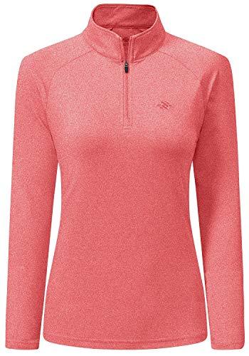 AjezMax Damen Langarmshirt UPF 50+ UV Sonnenschutz Leichtes Langarm Laufshirt Sportshirt Shirt 1/4 Zip für Training Wandern Sportshirt Orange Größe M