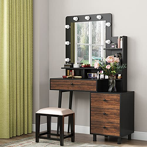 Tribesigns Vintage Vanity Table with Lighted Mirror, Vintage Makeup Dressing Table with Large Drawer and 3-Drawer Chest, Dresser Table for Women (Stool NOT Included)